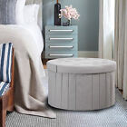 Fabric Folding Storage Ottoman Large Round Storage Bench Box Foot Rest Stool New