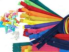 Zipper/Pulls Kit - 10 YKK #3 Coil Zippers and 25 Pulls / Stoppers Assorted Color
