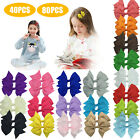 80PCS 4Inch Baby Girls Hair Bows Grosgrain Ribbon Mini Bows with Alligator clips