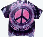 PINK and PURPLE PEACE SIGN Hand-dyed TIE DYE T-SHIRT Sizes M XL 2X & 3X image