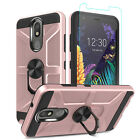 For LG Neon Plus (AT&T) Ring Holder Case With Stand Cover+Glass Screen Protector