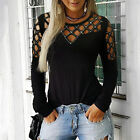 Womens Long Sleeve T shirt Tops Cut Out Cold Shoulder Size 6-24 Sexy Clothes UK
