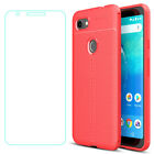 For Google Pixel 4 3a 3 2 XL Leather Soft TPU Shockproof Case + Tempered Glass