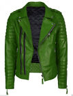 Superb Men's Green Motorcycle Biker Jacket Retro Slim Fit Faux Leather Jacket