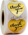 Thank You Stickers For Your Purchase Business Labels Round Heart Wedding 25mm