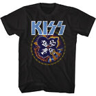 Kiss Music Band T-Shirt Skull Circle Rock and Roll Official Black Cotton New Tee image