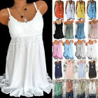 Women Summer Boho Lace Vest Tank Top Sleeveless Plus Size Blouse Tunic Shirt