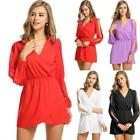 Meaneor Women Long Sleeve Deep V-neck A-Line Dress Elastic Waist Solid BTL8