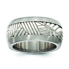Edward Mirell Titanium & Sterling Silver Inlay Polished Leaf Ring EMR297 image