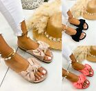 WOMENS LADIES FLATFORM BOW FASHION SUMMER BEACH HOILDAY LOW HEEL SLIDERS SANDALS