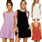 Womens Sleeveless Swing Sundress Plain Pocket Long Tops T-shirt Short Mini Dress