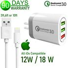 3,6,10ft USB Cable  12W 18W 3-USB Cube Wall Charger For Apple iPad 4th 5th Air