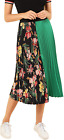 Women's Summer Color Block Floral Midi A-Line Pleated Skirt Fashion