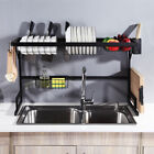 Over The Sink Dish Drying Shelf Stainless Steel Cutlery Holder Tier Drainer Rack