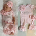 FixedPricenewborn baby girl flower romper ruffle jumpsuit + headband outfit clothes set