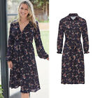 AVON Ladies Womens Floral Print Long Summer Dress Tie Up Button Front Size 8 10