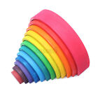 12PCS Wooden Rainbow Building Stacking Blocks Educational Toy For Baby Toddlers