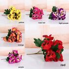 Home Room Pansy Flower Decoration Floral Plant Bunch Artificial Silk Bouquet Uk