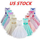 US Floral Girl Lace Princess Dress Toddler Pageant Wedding Bridesmaid Party Gown