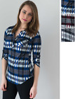 Women Shirt Long Sleeve Plaid Cotton Button Down Flannel Belted Tops S M L