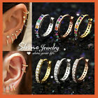 Rainbow Gem Mini Diamonds 18k Gold Gf Ear Cartilage Ring Piercing Hoop Earrings