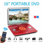 "16.1"" inch Portable Car DVD Player EVD TV USB Built-in Rotate Screen Remote"