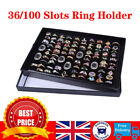 36/100 Slots Jewelry Ring Display Organizer Case Tray Holder Earring Storage Box