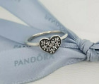 Brand New Genuine Silver PANDORA Clear Pave Heart Ring 190890CZ