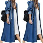 Womens Long Baggy Denim Coat Hoodies Outwear Full Length Hooded Jacket Plus Size