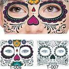 Halloween Temporary Tattoo Stickers Face Decal Waterproof Facial Day Of The Dead