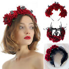 Bridal Headpiece Red Rose Crown Halloween Headbands Wedding Garland Hair Wreath