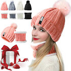 Women Winter Beanie Hat Scarf Set Lined Knitted Warm Ski Snow Pompom Skull Cap