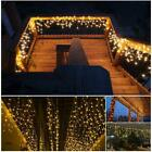 960 LED Icicle Curtain Fiary String Light 130FT Home Garland Xmas Decor Outdoor
