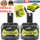 2x For Ryobi One+ Plus 18V Battery 5.0Ah P108 RB18l13 RB18l50 RB18L40+Charger