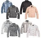 Mens Denim Jean Jacket Ripped Distressed Button Branded Collar 100% Cotton Shirt