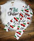 My First Christmas/ Bodysuit Pants Hat/Christmas Truck Outfit/Vintage Christmas