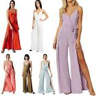 Womens Strappy Jumpsuit Vneck Wide Leg Plain Holiday Beach Party Playsuit Romper