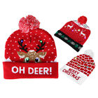 Cute Colorful Light Adult Kid Beanie Hat Christmas Pompom Knitted Warm Hats