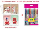 Pack+Of+10+Luxury+Square+Die+Cut+Christmas+Cards+Teddy+%2BSparkle+Glitter+Gel+pens
