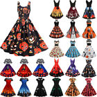 US Vintage Women Halloween Party Fancy Costume Pumkin Print Skater Swing Dresses