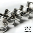 US State Quarter Coin Ring ANY STATE Sizes 8-12
