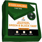 Green/ Black Poly Tarp Cover Super Heavy Duty 10 Mil Thick,