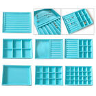 Blue Stackable Velvet Jewelry Trays Organizer for Necklace Cosmetic Box