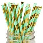 Paper Straws Mint and Gold Foil Striped - Eco Friendly Biodegradable Party Straw