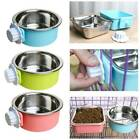 Pet Dog Puppy Stainless Steel Hanging Food Water Bowl Feeder For Crate CageAergk