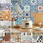 24pcs Mosaic Tile Stickers Floral Self Adhesive Kitchen Bathroom Home Wall Decor
