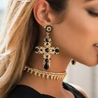 Luxury+Baroque+Bohemian+Crystal+Cross+Large+Long+Dangle+Ear+Stud+Earrings+