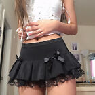 Womens Gothic Skirts Sexy Lace Ruffles Splice Pleated Bow Knot Mini Short Dress