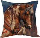 Moslion Indian Horse Cotton Linen Square Decorative Throw Pillow Covers Brown Ho