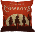 Hgod Designs Cowboy Throw Pillow Cover,Vintage Western Cowboys Riding Horses Woo